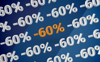 Ilustração de venda 3D com porcentagem, vetor