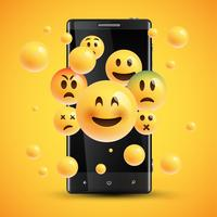 Realistiska lyckliga gula uttryckssymboler framför en mobiltelefon, vektor illustration