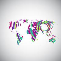 Abstract world map with colorful circles for advertising, vector