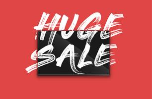 High-detailed notebook with painted 'HUGE SALE' on the screen, vector illustration