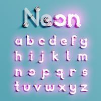 Conjunto de caracteres de neón realista, ilustración vectorial