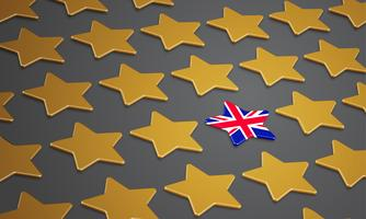 Illustration with stars for BREXIT - Great Britain leaving the EU, vector