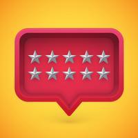 Grey rating stars in speech bubble, vector illustration