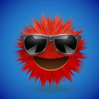High-detailed 3D fur smiley emoticon, vector illustration