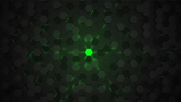 Green 3D hexagon tech background, vector illustration