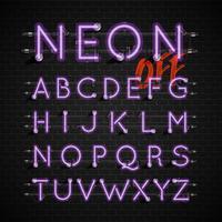 Conjunto de fontes de néon altamente detalhadas, ilustração vetorial