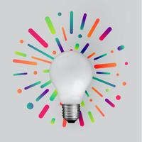 Realistische steen lightbulb met kleurrijke achtergrond, vectorillustratie