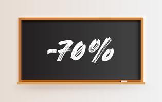 Hoog gedetailleerd bord met '-70%' titel, vectorillustratie