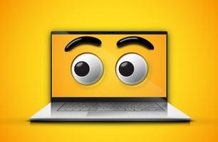 Olhos de alta detalhado emoticon em uma tela de notebook, ilustração vetorial