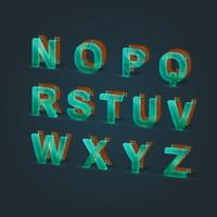 Realsitic glass and wood font set, vector illustration
