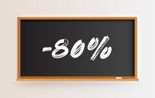 High detailed blackboard with '-80%' title, vector illustration