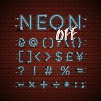Alfabeto set di caratteri al neon dettagliate, illustrazione vettoriale