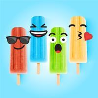 Emoticon divertenti sull'illustrazione realistica del gelato, illustrazione di vettore