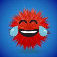 Hochdetaillierter smiley Emoticon des Pelzes 3D, Vektorillustration