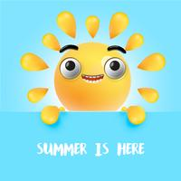 Highly detailed happy sunny emoticon, vector illustration