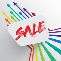 Modelo colorido e limpo com título de 'venda' e setas, ilustração vetorial