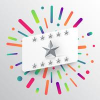 Colorful and white template with stars, vector illustration