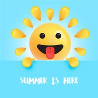 "Funny sun-smiley con el título """" Summer is here "", ilustración vectorial"
