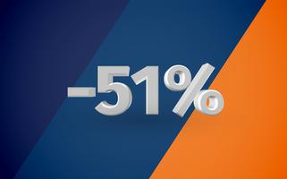 3D sale illustration with percentage, vector