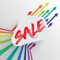 Modèle coloré et propre avec titre de «vente» et des flèches, illustration vectorielle