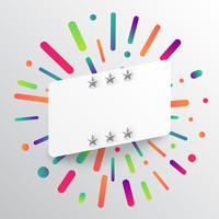 Färgrik och vit mall med stjärnor, vektor illustration