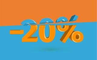 3D sale illustration with cut percentage, vector
