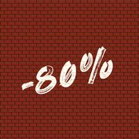 High detailed brick wall with percentage, vector illustration