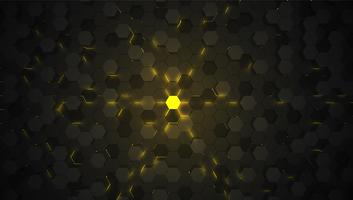 Yellow 3D hexagon tech background, vector illustration