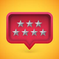Grey rating stars in speech bubble, vector illustration