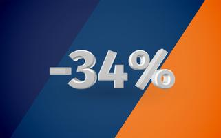 3D-försäljning illustration med procent, vektor