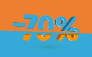 Ilustración de venta 3D con porcentaje de corte, vector