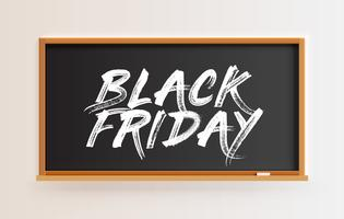 High detailed blackboard with 'BLACK FRIDAY' title, vector illustration