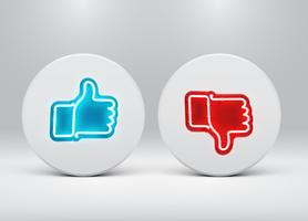 Neon like and dislike buttons, vector illustration
