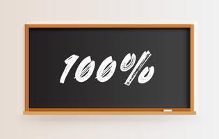Pizarra detallada alta con título '100%', ilustración vectorial