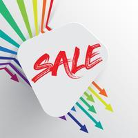 Kleurrijk en schoon malplaatje met 'Verkoop' titel en pijlen, vectorillustratie