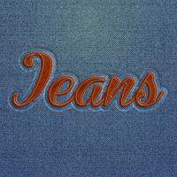 Realistic embroidered 'Jeans' word, vector