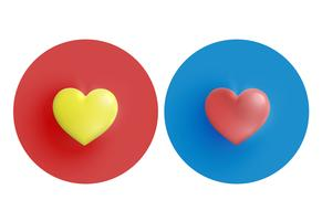 Yellow and red hearts on circle, vector illustration