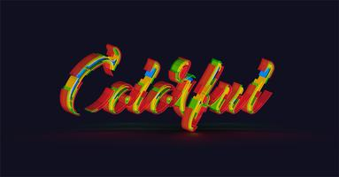 'Colorful' 3D typography from a typeface, vector