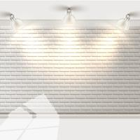 Pared de ladrillo blanco con reflectores, vector