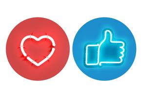Heart and thumbs up neon signs, vector illustration