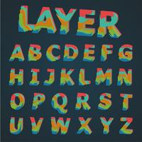 3D Colorful layered typeset, vector