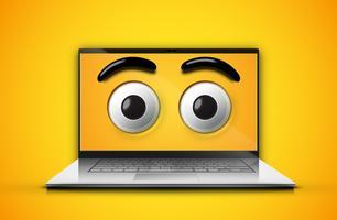 Hoog-gedetailleerde emoticonogen op het notitieboekjescherm, vectorillustratie