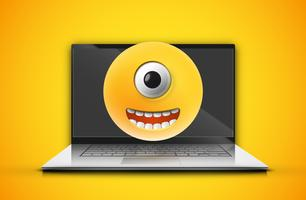 High-detailed emoticon on a notebook screen, vector illustration