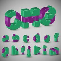 Bunter Zeichensatz 3D von einem Schriftsatz, Vektor