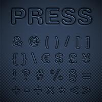 Pressed font set, vector illustration