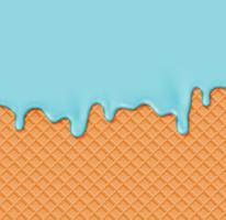 Waffle realista con crema de fusión en él, ilustración vectorial