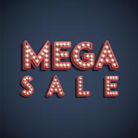 Signe de polices de lampe «MEGA SALE», illustration vectorielle
