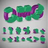 Conjunto de caracteres 3D colorido de um typeset, vetor