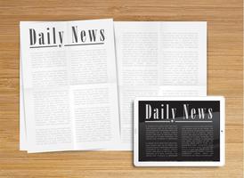 Realistische Zeitung mit einer Tablette, Vektor