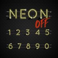 High detailed neon font set, vector illustration